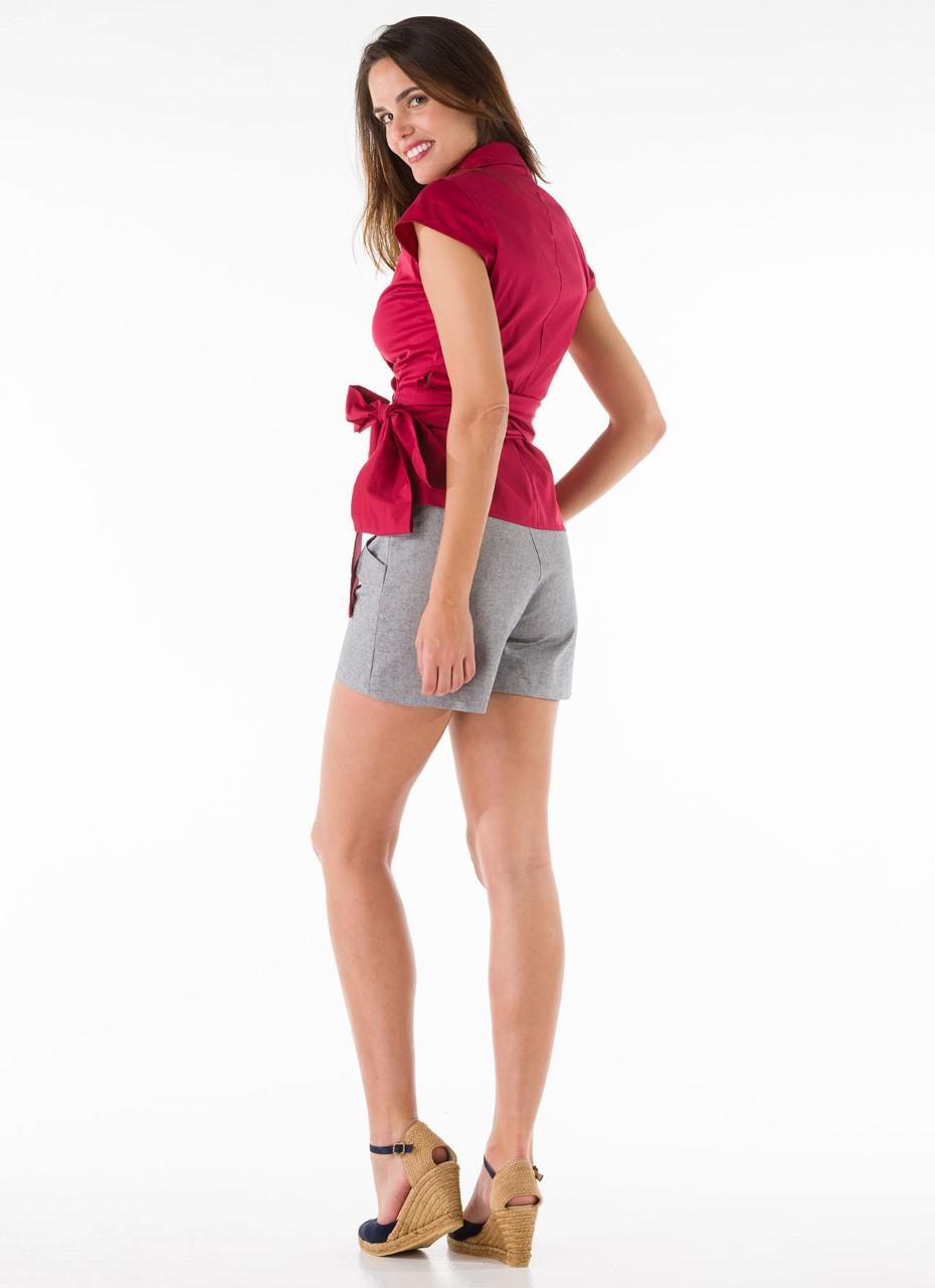 thumbnail_Camisa cruzada en algodón elastán con gran lazada. (2)